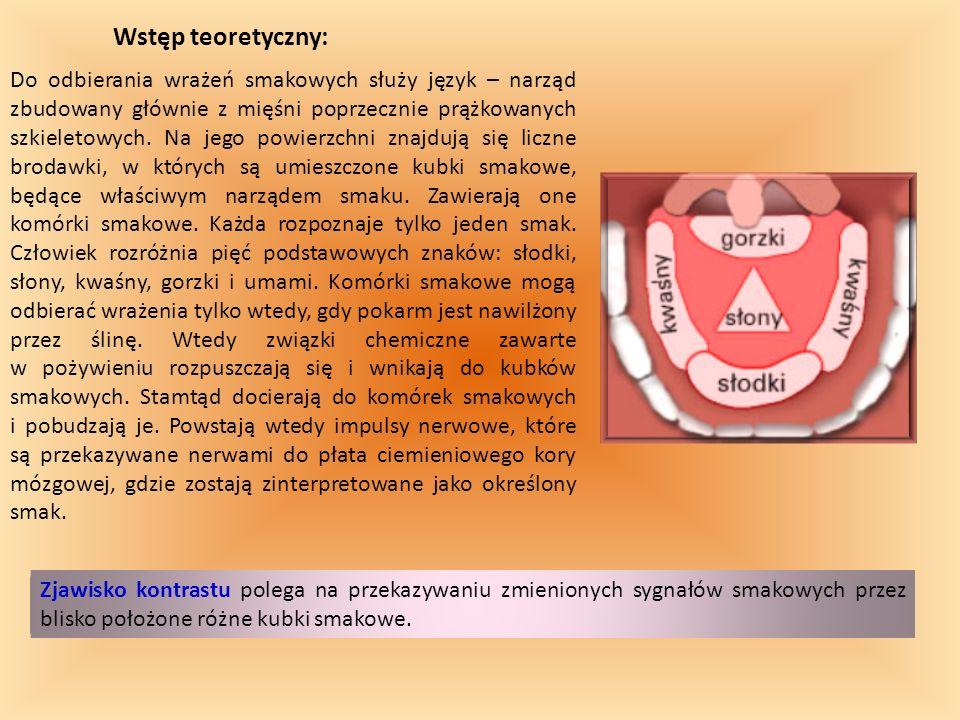Wstęp teoretyczny: Do odbierania wrażeń smakowych służy język – narząd zbudowany głównie z mięśni poprzecznie prążkowanych szkieletowych. Na jego powi