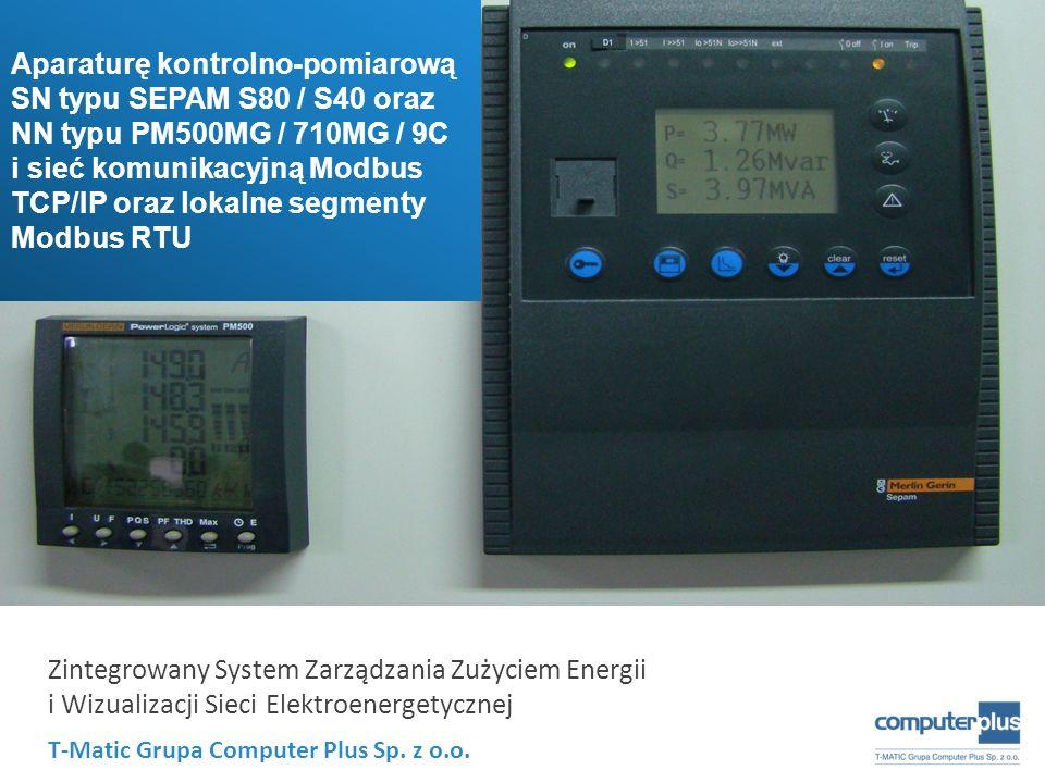 T-Matic Grupa Computer Plus Sp. z o.o. Zintegrowany System Zarządzania Zużyciem Energii i Wizualizacji Sieci Elektroenergetycznej Aparaturę kontrolno-