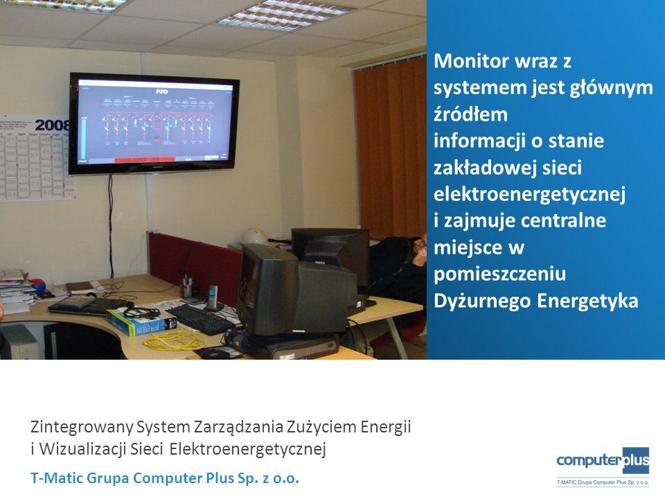 T-Matic Grupa Computer Plus Sp. z o.o. Zintegrowany System Zarządzania Zużyciem Energii i Wizualizacji Sieci Elektroenergetycznej Monitor wraz z syste