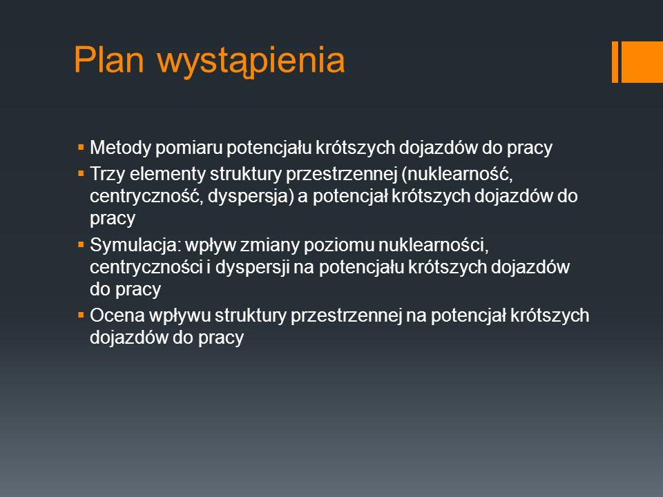 Plan wystąpienia Metody pomiaru potencjału krótszych dojazdów do pracy Trzy elementy struktury przestrzennej (nuklearność, centryczność, dyspersja) a