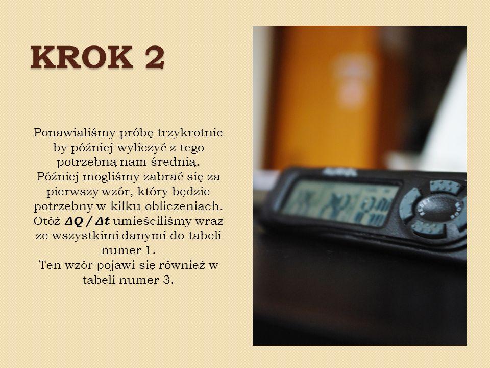 KROK 3 Kolejnym ważnym elementem doświadczenia było zmierzenie masy świeczki w danym przedziale czasu oraz wyliczenie z tego średniej.