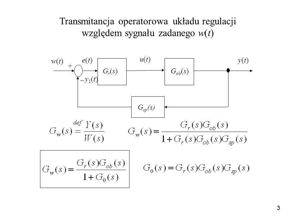 3 Transmitancja operatorowa układu regulacji względem sygnału zadanego w(t) y(t)y(t) Gr(s)Gr(s)G ob (s) w(t)w(t) u(t)u(t) e(t)e(t) _ + G sp (s) y1(t)y