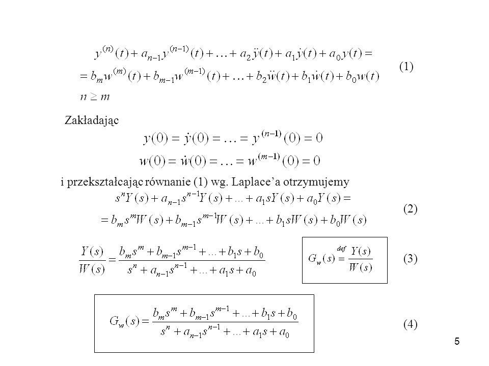 6 Transmitancja uchybowa układu regulacji (5) Wielomian charakterystyczny (6)