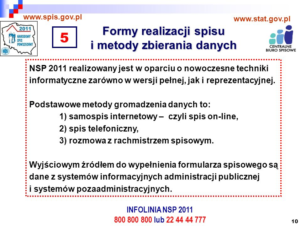 10 Formy realizacji spisu i metody zbierania danych www.spis.gov.pl www.stat.gov.pl NSP 2011 realizowany jest w oparciu o nowoczesne techniki informatyczne zarówno w wersji pełnej, jak i reprezentacyjnej.