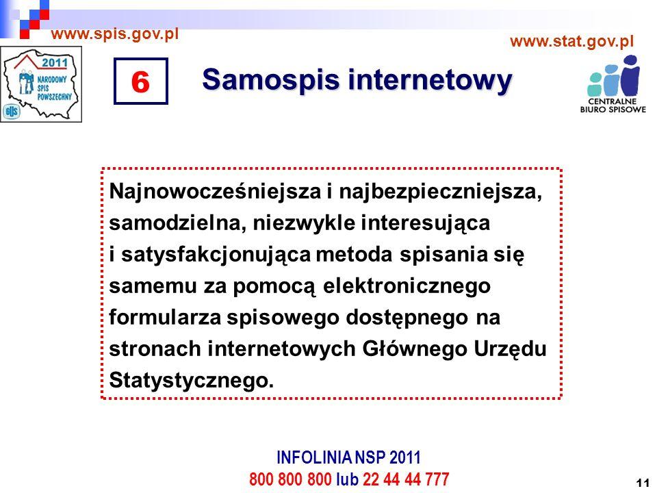 11 Samospis internetowy www.spis.gov.pl www.stat.gov.pl Najnowocześniejsza i najbezpieczniejsza, samodzielna, niezwykle interesująca i satysfakcjonująca metoda spisania się samemu za pomocą elektronicznego formularza spisowego dostępnego na stronach internetowych Głównego Urzędu Statystycznego.