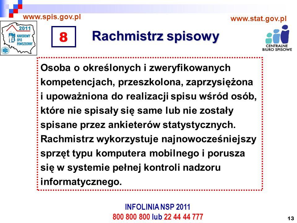 13 Rachmistrz spisowy www.spis.gov.pl www.stat.gov.pl Osoba o określonych i zweryfikowanych kompetencjach, przeszkolona, zaprzysiężona i upoważniona do realizacji spisu wśród osób, które nie spisały się same lub nie zostały spisane przez ankieterów statystycznych.