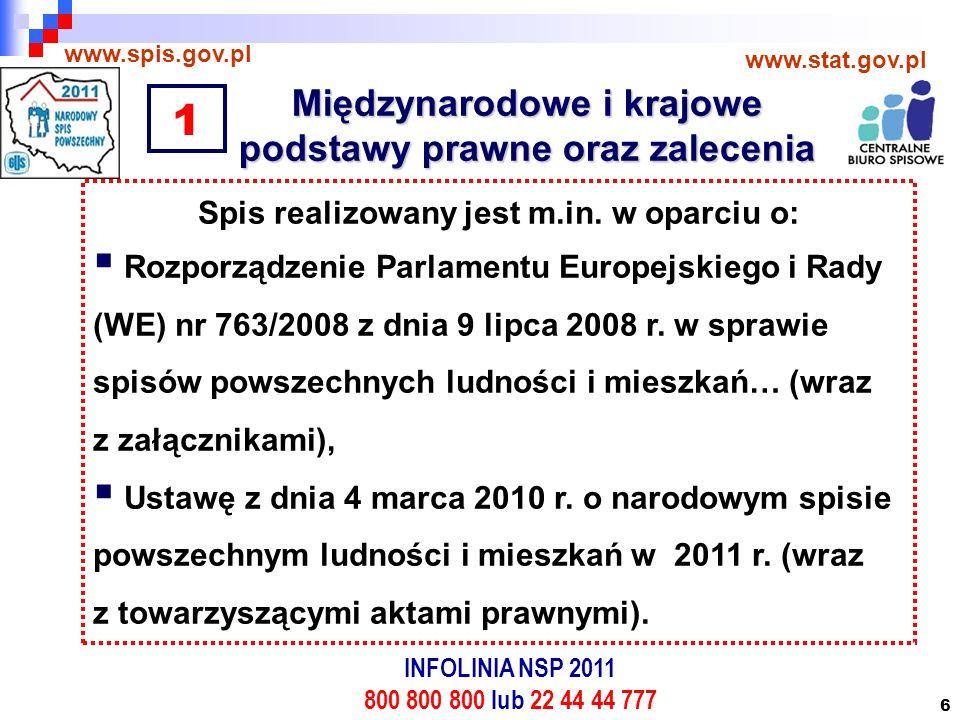 6 Międzynarodowe i krajowe podstawy prawne oraz zalecenia www.spis.gov.pl www.stat.gov.pl Spis realizowany jest m.in.