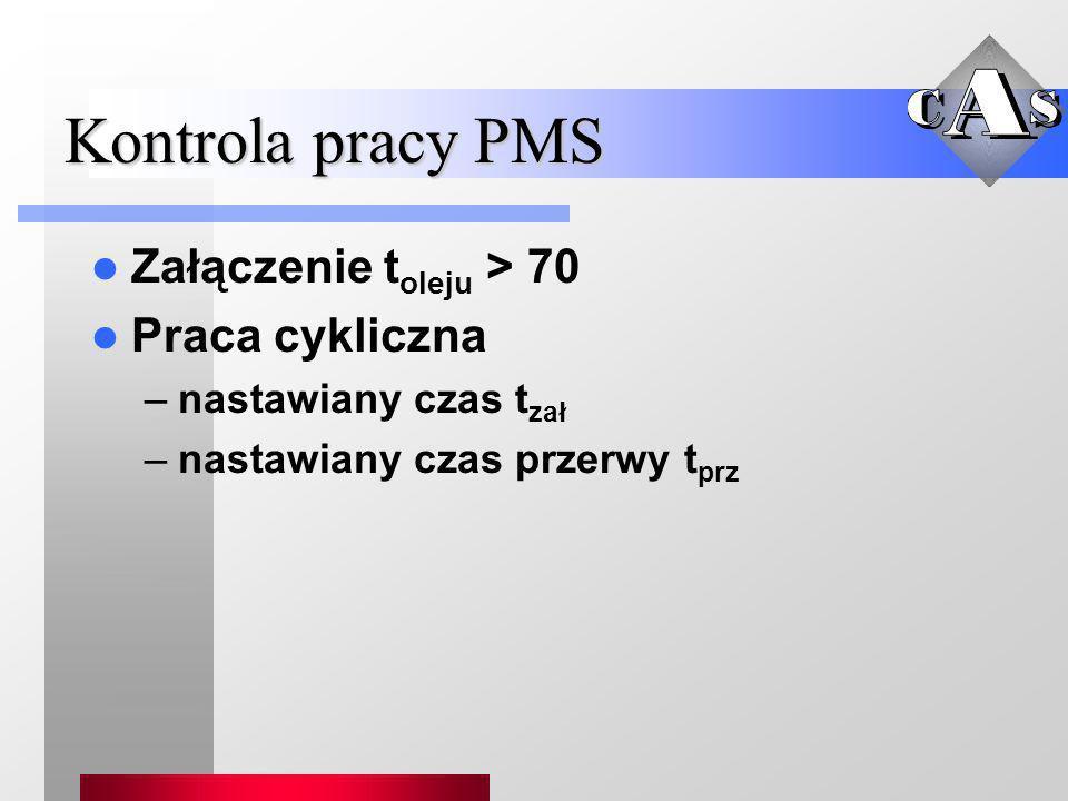 Kontrola pracy PMS Załączenie t oleju > 70 Praca cykliczna –nastawiany czas t zał –nastawiany czas przerwy t prz