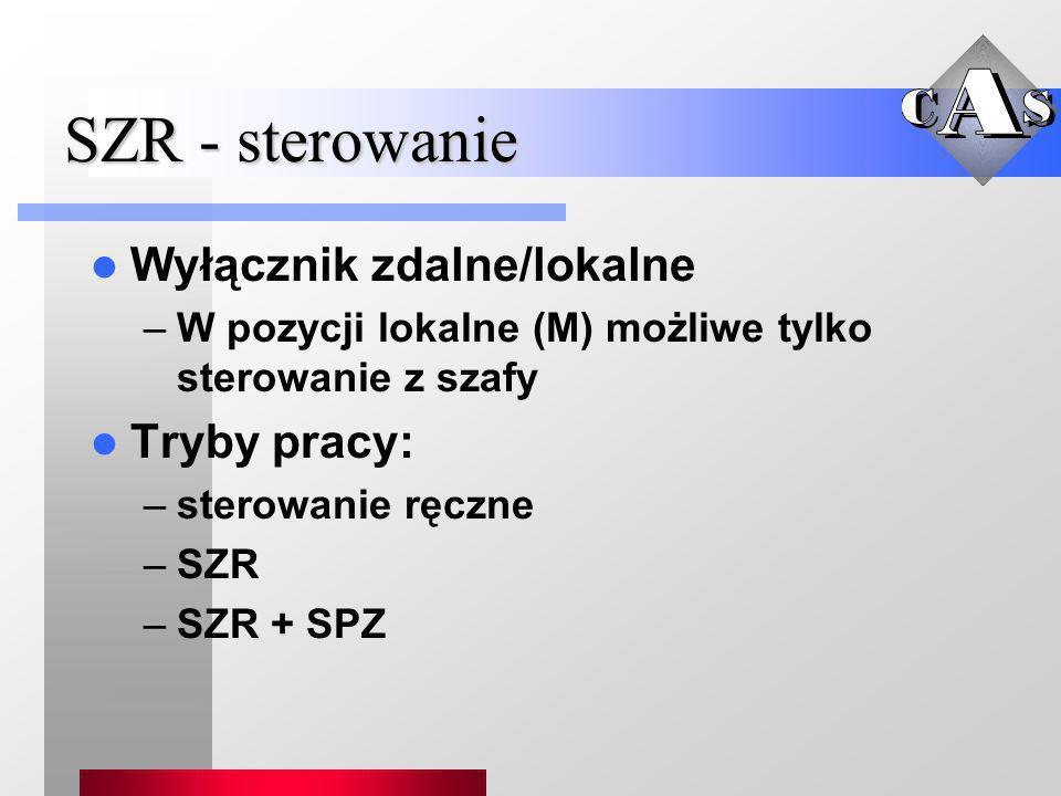 SZR - sterowanie Wyłącznik zdalne/lokalne –W pozycji lokalne (M) możliwe tylko sterowanie z szafy Tryby pracy: –sterowanie ręczne –SZR –SZR + SPZ