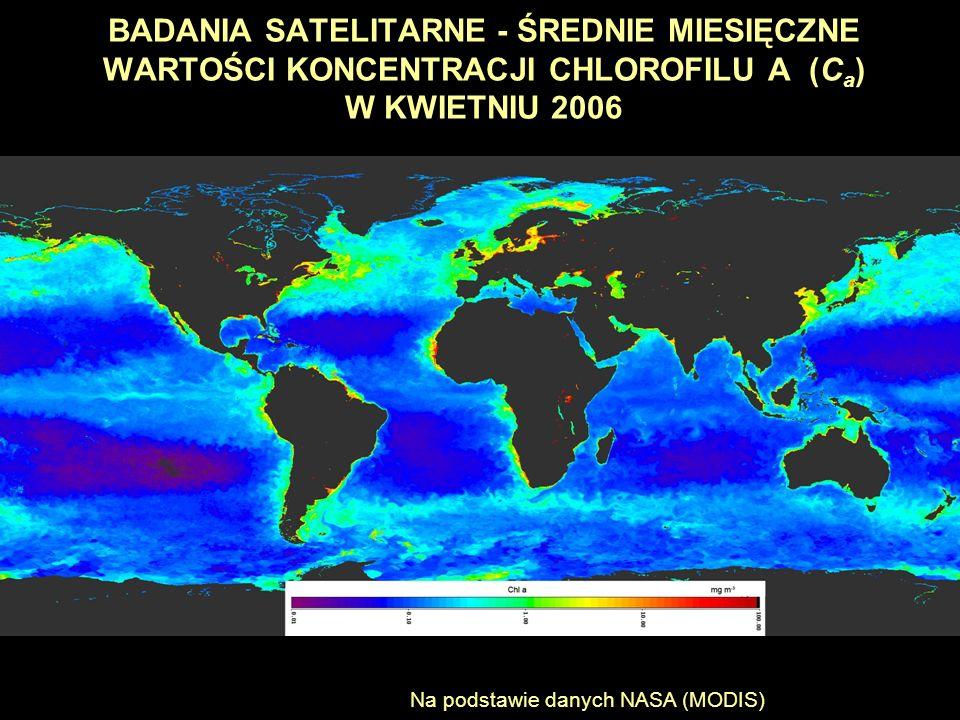 BADANIA SATELITARNE - ŚREDNIE MIESIĘCZNE WARTOŚCI KONCENTRACJI CHLOROFILU A (C a ) W KWIETNIU 2006 Na podstawie danych NASA (MODIS)