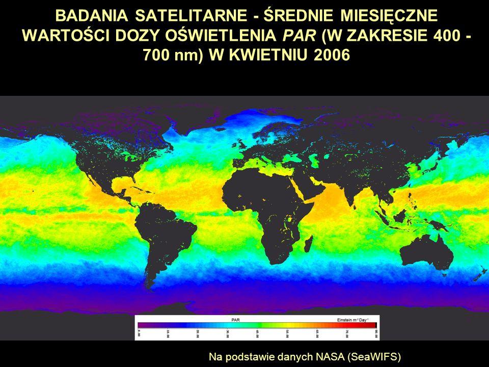 BADANIA SATELITARNE - ŚREDNIE MIESIĘCZNE WARTOŚCI DOZY OŚWIETLENIA PAR (W ZAKRESIE 400 - 700 nm) W KWIETNIU 2006 Na podstawie danych NASA (SeaWIFS)