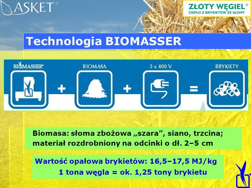 Biomasa: słoma zbożowa szara, siano, trzcina; materiał rozdrobniony na odcinki o dł. 2–5 cm Wartość opałowa brykietów: 16,5–17,5 MJ/kg 1 tona węgla =