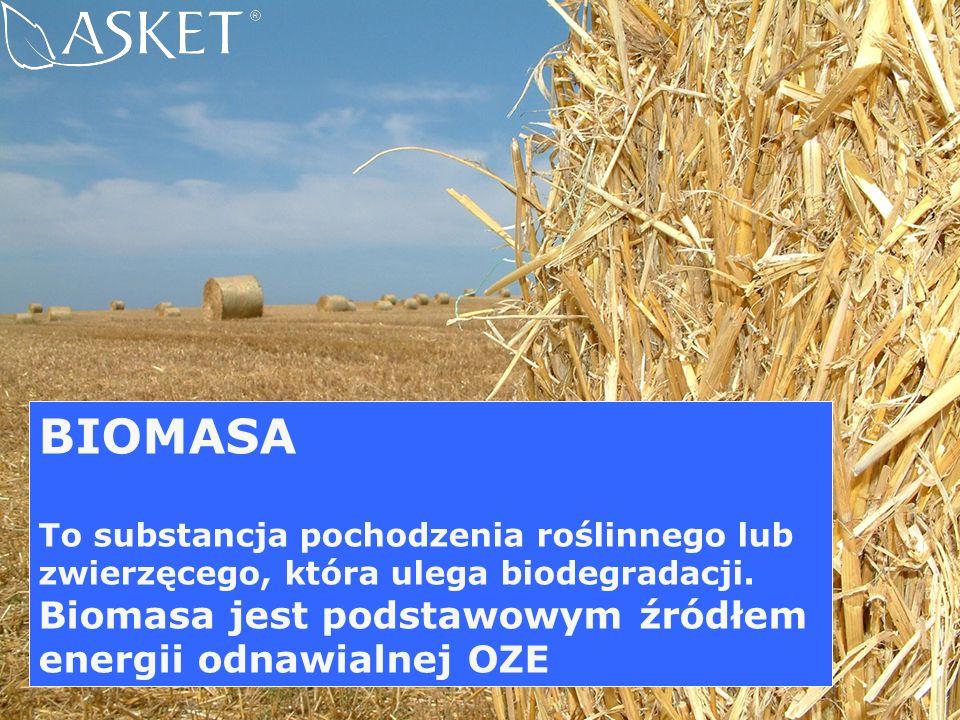 BIOMASA To substancja pochodzenia roślinnego lub zwierzęcego, która ulega biodegradacji. Biomasa jest podstawowym źródłem energii odnawialnej OZE