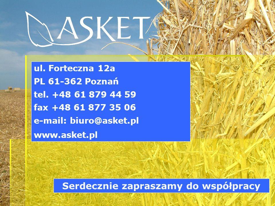 ul. Forteczna 12a PL 61-362 Poznań tel. +48 61 879 44 59 fax +48 61 877 35 06 e-mail: biuro@asket.pl www.asket.pl Serdecznie zapraszamy do współpracy