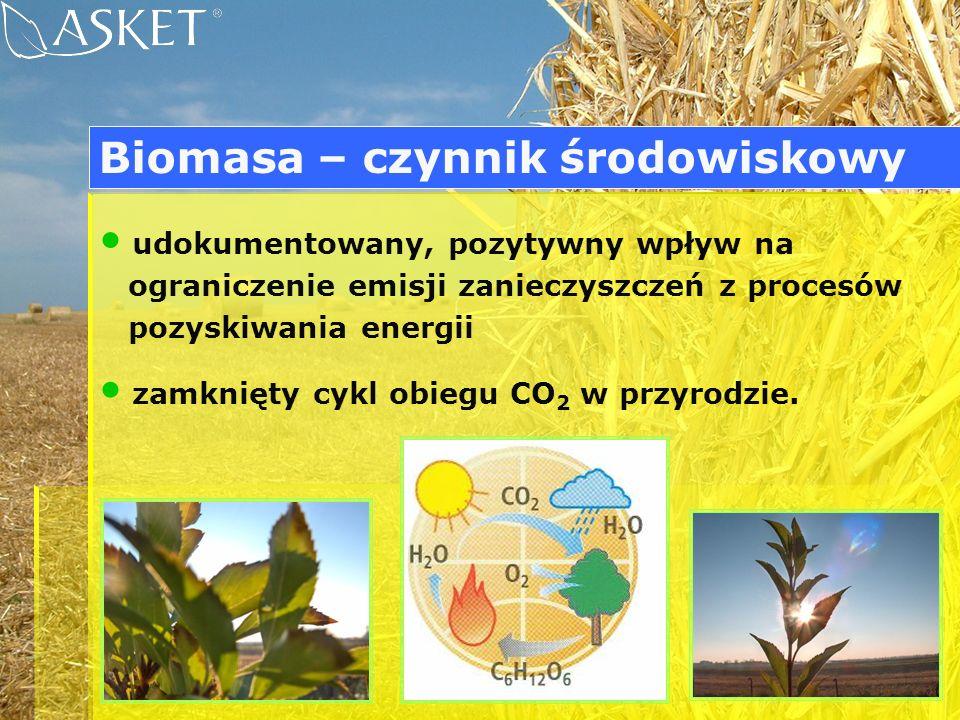 udokumentowany, pozytywny wpływ na ograniczenie emisji zanieczyszczeń z procesów pozyskiwania energii zamknięty cykl obiegu CO 2 w przyrodzie. Biomasa