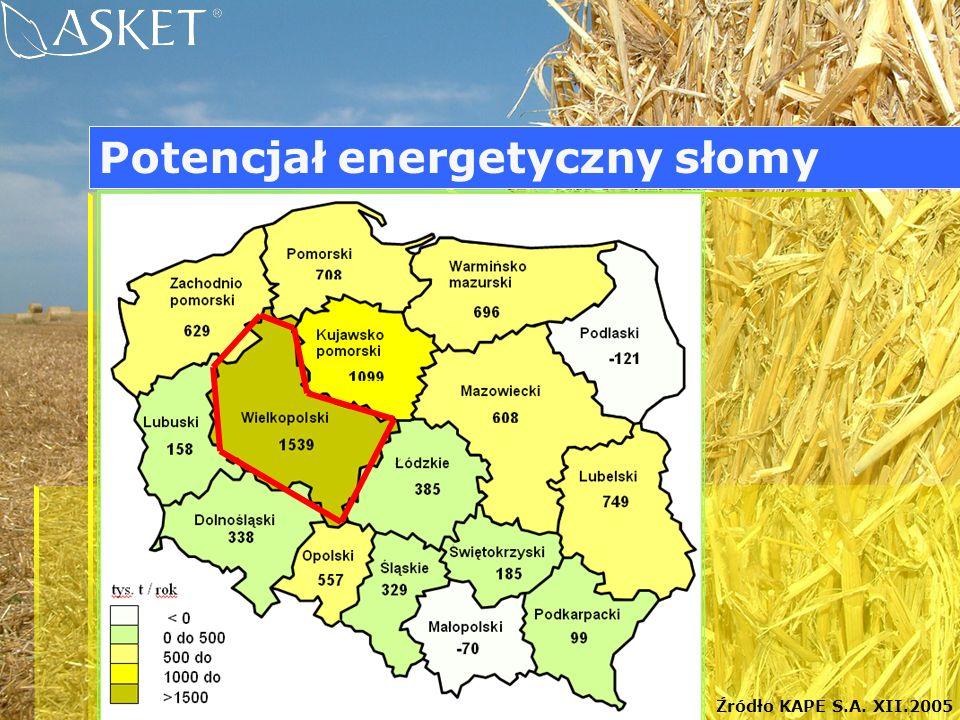 Źródło KAPE S.A. XII.2005 Potencjał energetyczny słomy