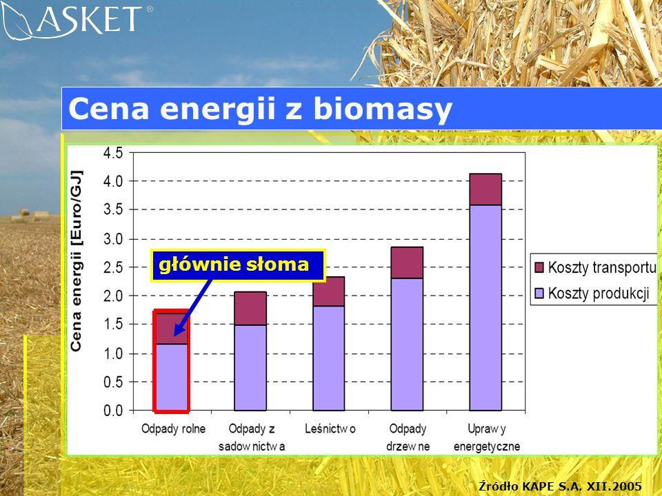 Źródło KAPE S.A. XII.2005 głównie słoma Cena energii z biomasy