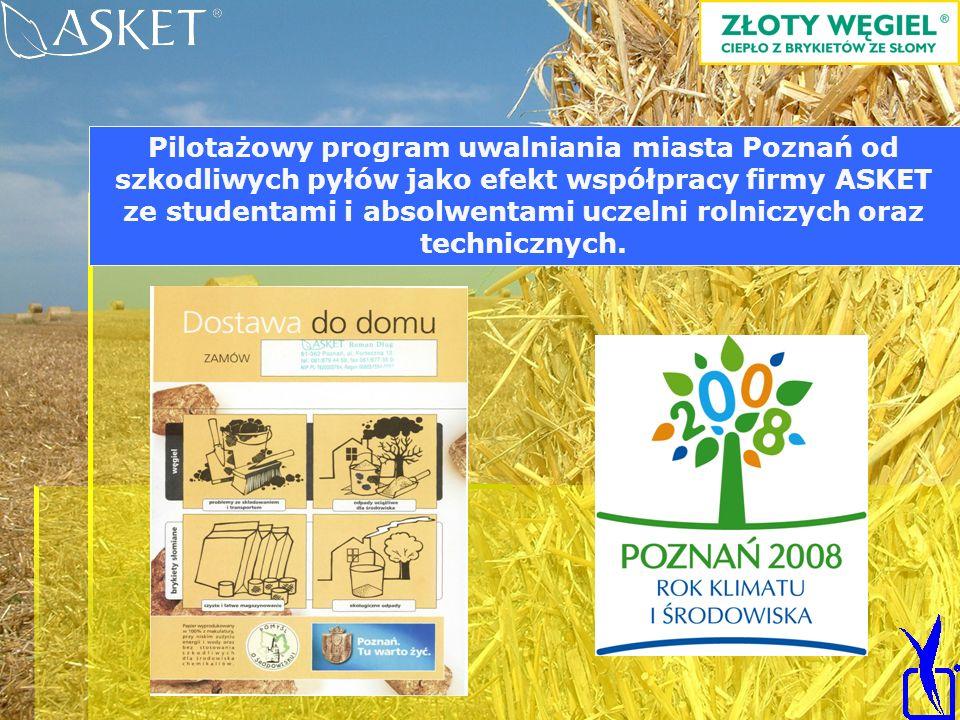 Linia BIOMASSER = brykieciarka + rozdrabniacz Pilotażowy program uwalniania miasta Poznań od szkodliwych pyłów jako efekt współpracy firmy ASKET ze st