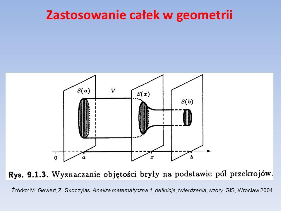 Zastosowanie całek w geometrii Źródło: M. Gewert, Z. Skoczylas, Analiza matematyczna 1, definicje, twierdzenia, wzory, GiS, Wrocław 2004.