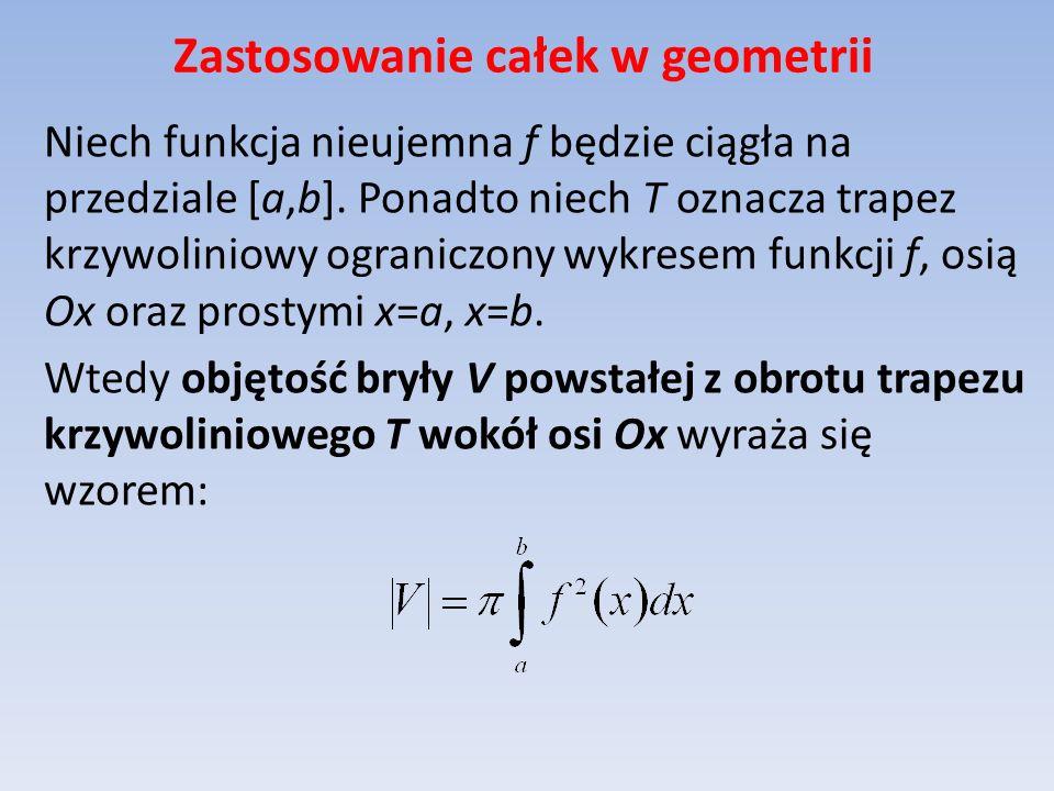 Zastosowanie całek w geometrii Niech funkcja nieujemna f będzie ciągła na przedziale [a,b].