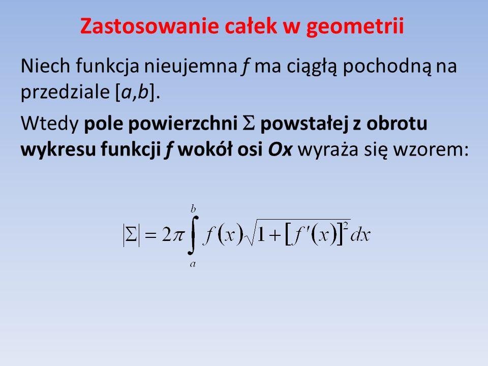 Zastosowanie całek w geometrii Niech funkcja nieujemna f ma ciągłą pochodną na przedziale [a,b]. Wtedy pole powierzchni powstałej z obrotu wykresu fun