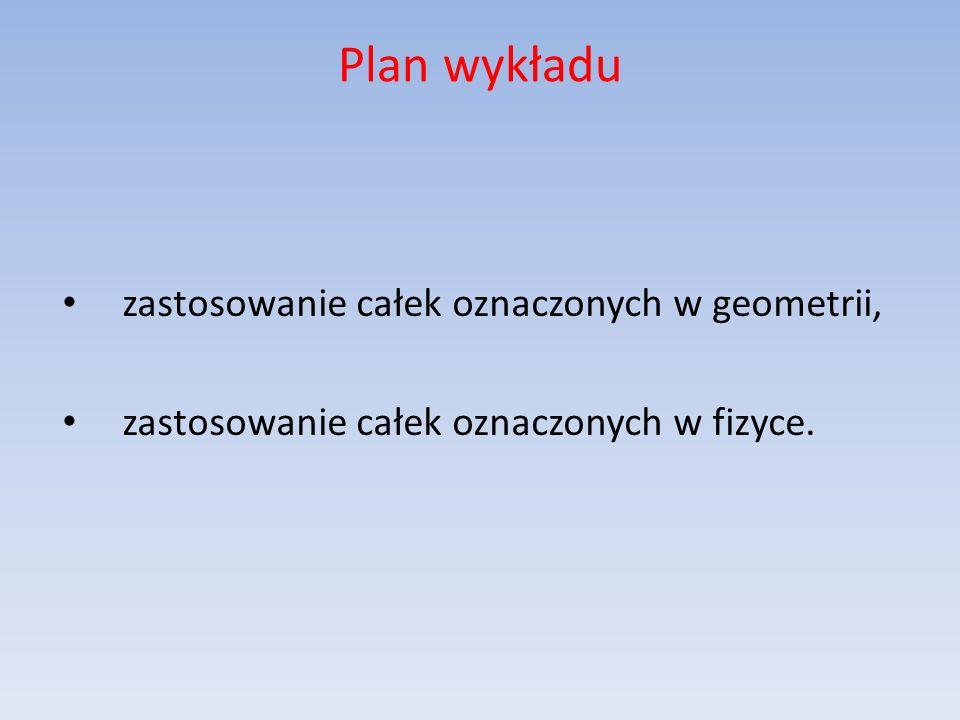 Plan wykładu zastosowanie całek oznaczonych w geometrii, zastosowanie całek oznaczonych w fizyce.