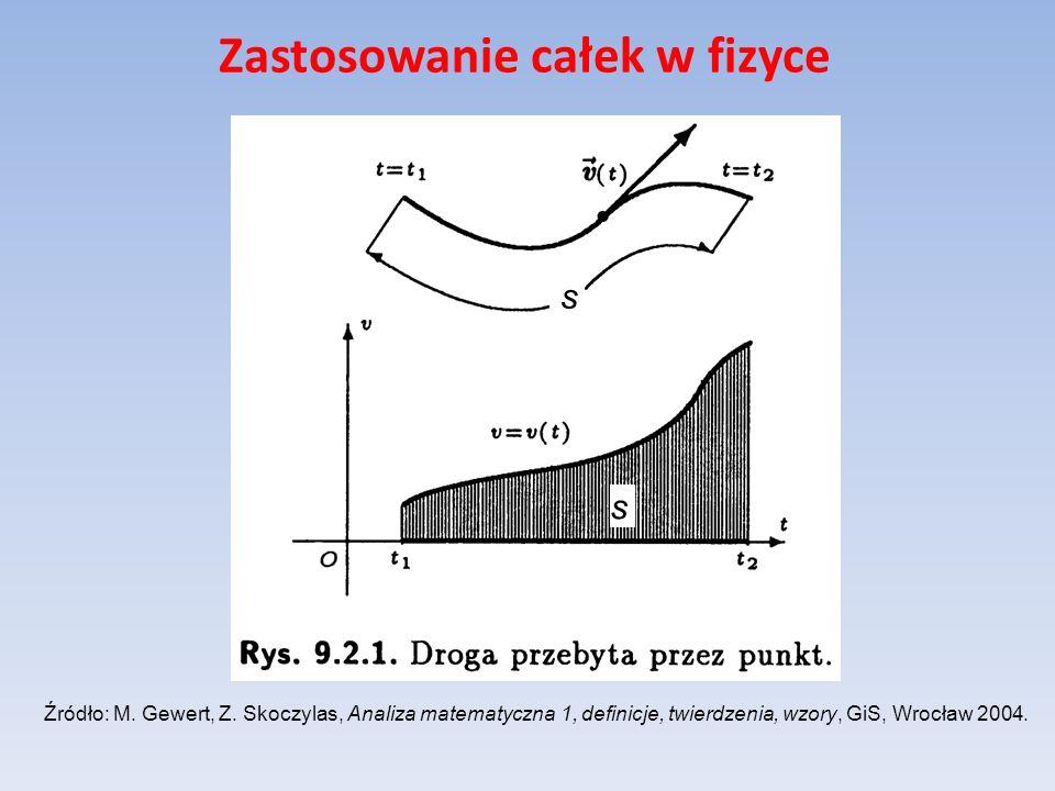 Zastosowanie całek w fizyce Źródło: M. Gewert, Z. Skoczylas, Analiza matematyczna 1, definicje, twierdzenia, wzory, GiS, Wrocław 2004. s s