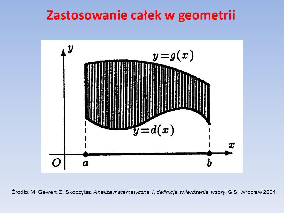 Zastosowanie całek w geometrii Niech funkcja nieujemna f ma ciągłą pochodną na przedziale [a,b].
