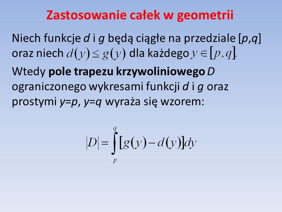 Zastosowanie całek w geometrii Niech funkcje d i g będą ciągłe na przedziale [p,q] oraz niech dla każdego Wtedy pole trapezu krzywoliniowego D ograniczonego wykresami funkcji d i g oraz prostymi y=p, y=q wyraża się wzorem: