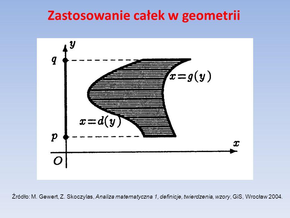 Zastosowanie całek w geometrii Niech funkcja f ma ciągłą pochodną na przedziale [a,b], gdzie Wtedy pole powierzchni powstałej z obrotu wykresu funkcji f wokół osi Oy wyraża się wzorem: