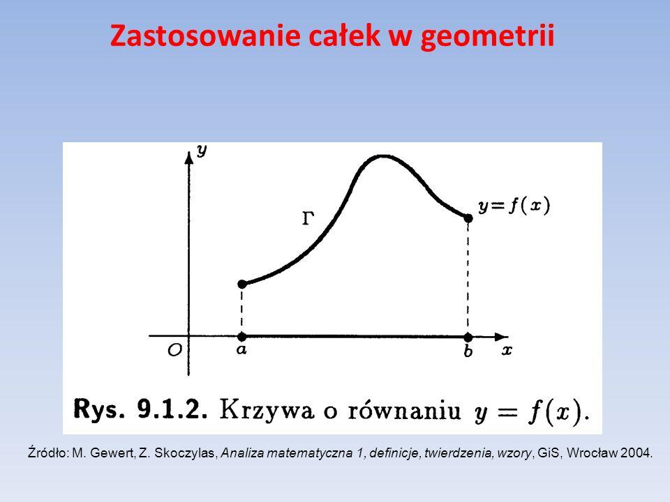 Zastosowanie całek w geometrii Niech S(x), gdzie oznacza pole przekroju bryły V płaszczyzną prostopadłą do osi Ox w punkcie x oraz niech funkcja S będzie ciągła na przedziale [a,b].