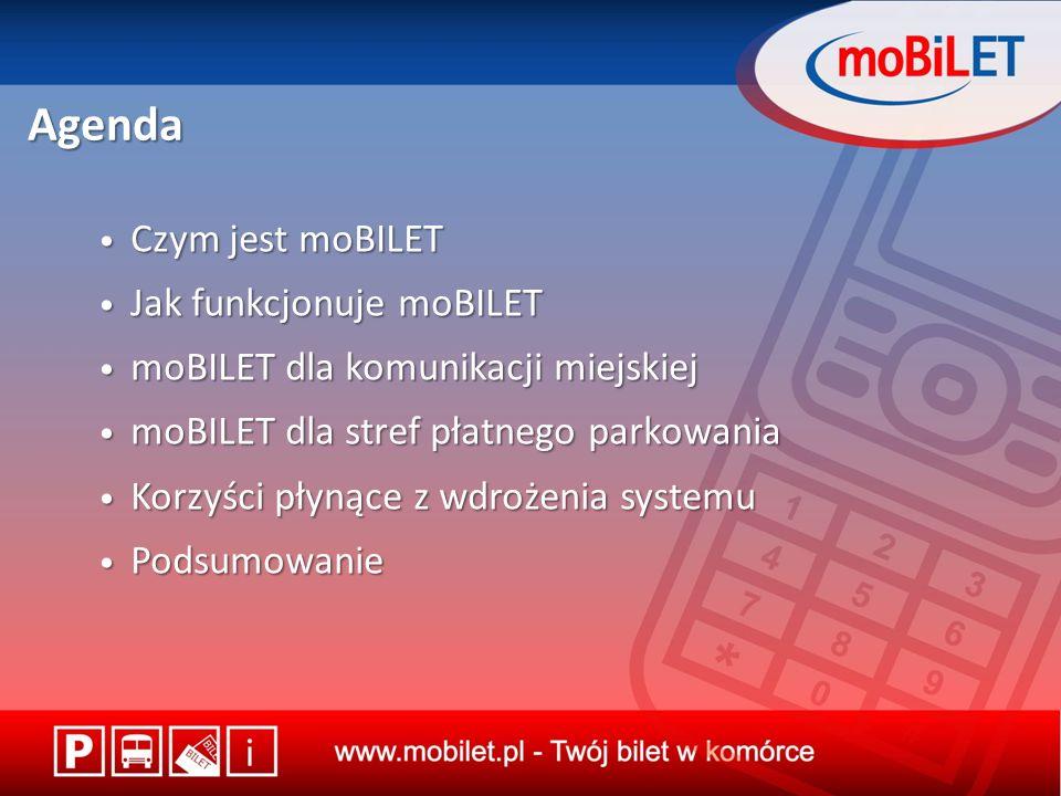 Agenda Czym jest moBILET Czym jest moBILET Jak funkcjonuje moBILET Jak funkcjonuje moBILET moBILET dla komunikacji miejskiej moBILET dla komunikacji miejskiej moBILET dla stref płatnego parkowania moBILET dla stref płatnego parkowania Korzyści płynące z wdrożenia systemu Korzyści płynące z wdrożenia systemu Podsumowanie Podsumowanie