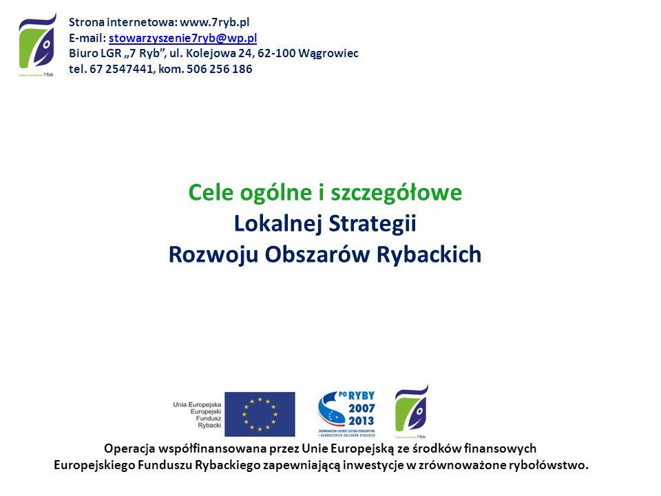Cele ogólne i szczegółowe Lokalnej Strategii Rozwoju Obszarów Rybackich Operacja współfinansowana przez Unie Europejską ze środków finansowych Europej