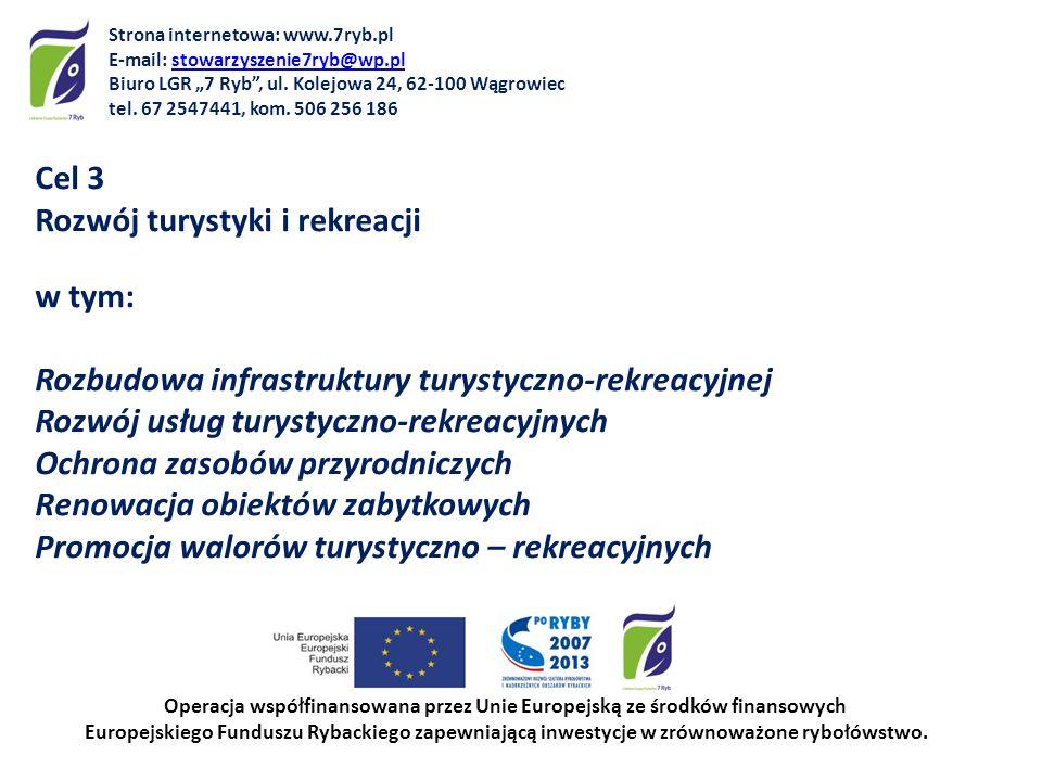 Cel 3 Rozwój turystyki i rekreacji w tym: Rozbudowa infrastruktury turystyczno-rekreacyjnej Rozwój usług turystyczno-rekreacyjnych Ochrona zasobów prz