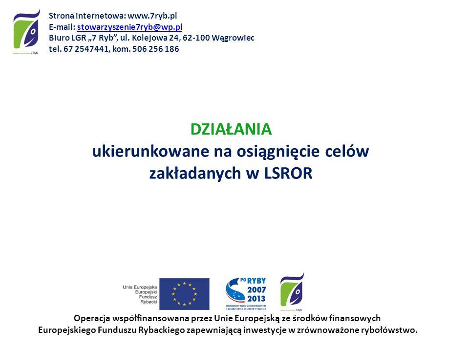DZIAŁANIA ukierunkowane na osiągnięcie celów zakładanych w LSROR Operacja współfinansowana przez Unie Europejską ze środków finansowych Europejskiego