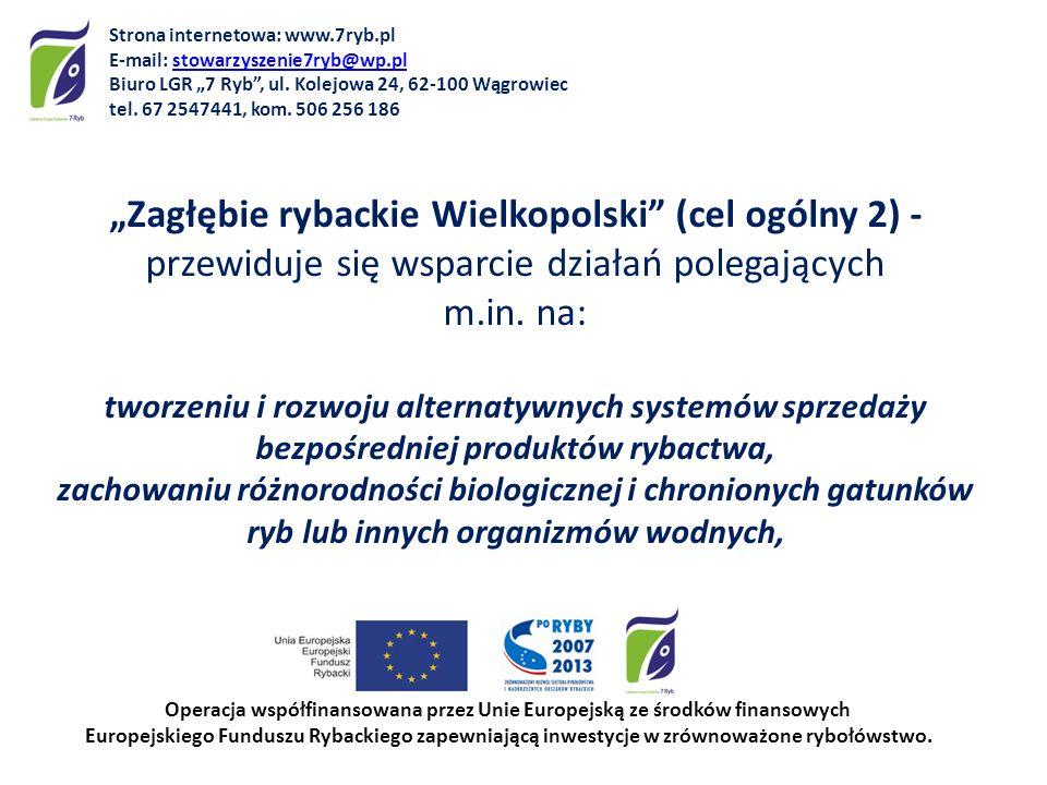 Zagłębie rybackie Wielkopolski (cel ogólny 2) - przewiduje się wsparcie działań polegających m.in. na: tworzeniu i rozwoju alternatywnych systemów spr