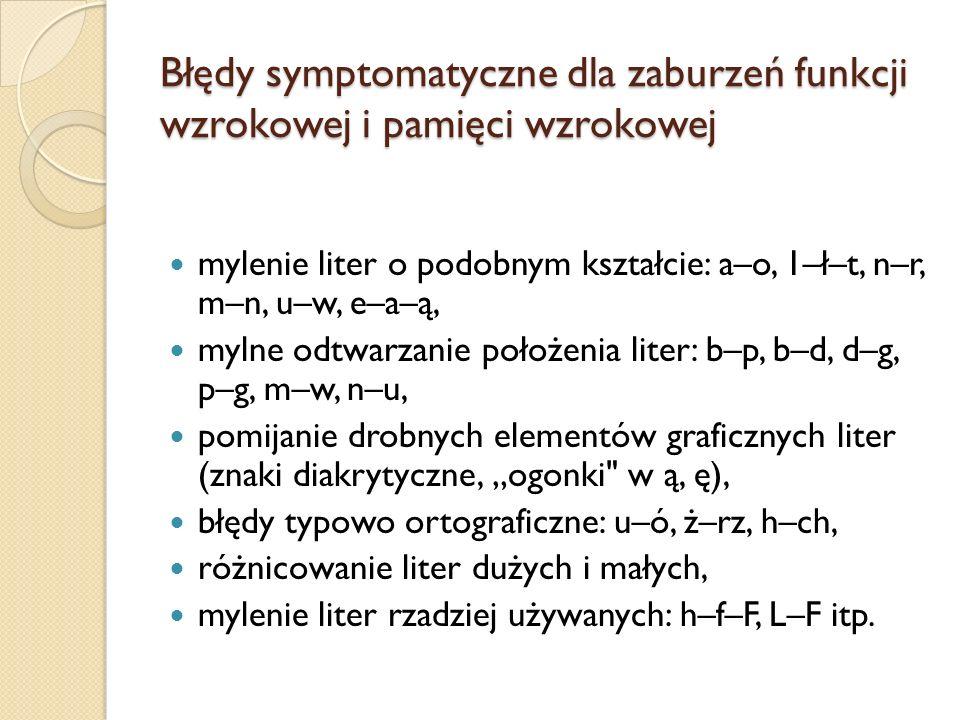 Błędy symptomatyczne dla zaburzeń funkcji wzrokowej i pamięci wzrokowej mylenie liter o podobnym kształcie: a–o, 1–ł–t, n–r, m–n, u–w, e–a–ą, mylne odtwarzanie położenia liter: b–p, b–d, d–g, p–g, m–w, n–u, pomijanie drobnych elementów graficznych liter (znaki diakrytyczne, ogonki w ą, ę), błędy typowo ortograficzne: u–ó, ż–rz, h–ch, różnicowanie liter dużych i małych, mylenie liter rzadziej używanych: h–f–F, L–F itp.