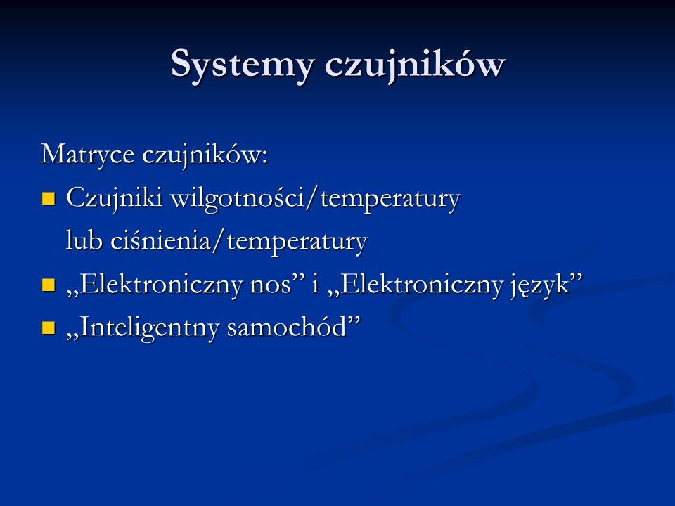 Systemy czujników Matryce czujników: Czujniki wilgotności/temperatury Czujniki wilgotności/temperatury lub ciśnienia/temperatury Elektroniczny nos i E