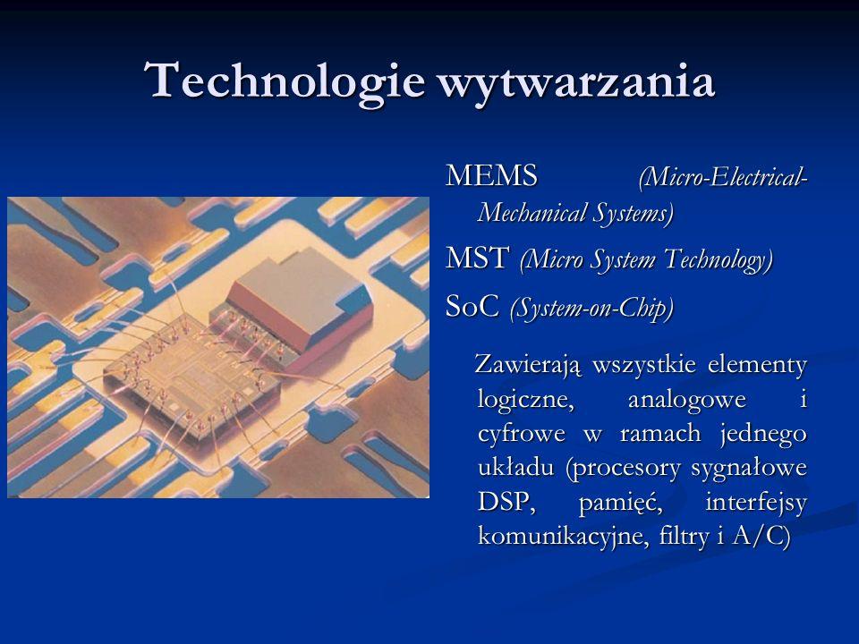 Technologie wytwarzania MEMS (Micro-Electrical- Mechanical Systems) MST (Micro System Technology) SoC (System-on-Chip) Zawierają wszystkie elementy lo