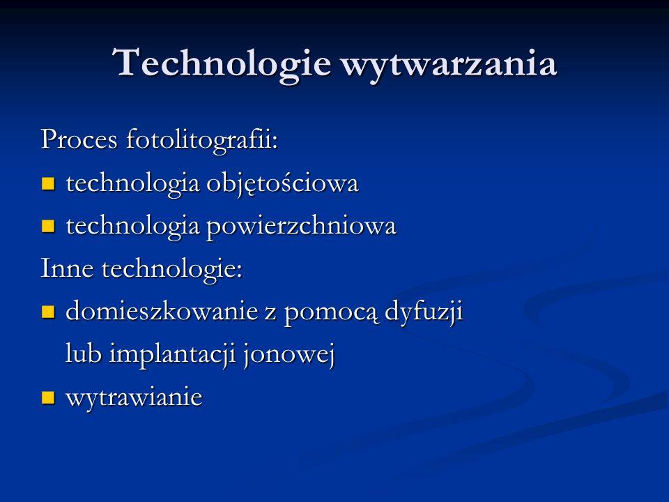 Technologie wytwarzania Proces fotolitografii: technologia objętościowa technologia objętościowa technologia powierzchniowa technologia powierzchniowa