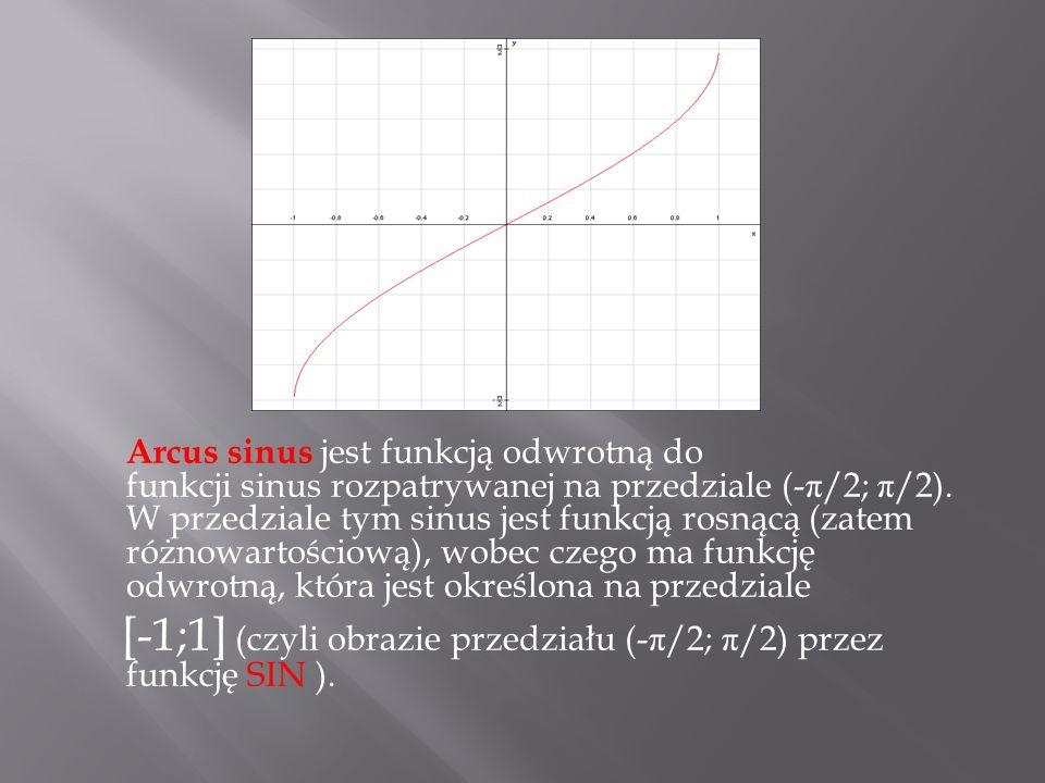Arcus sinus jest funkcją odwrotną do funkcji sinus rozpatrywanej na przedziale (- π /2; π /2). W przedziale tym sinus jest funkcją rosnącą (zatem różn
