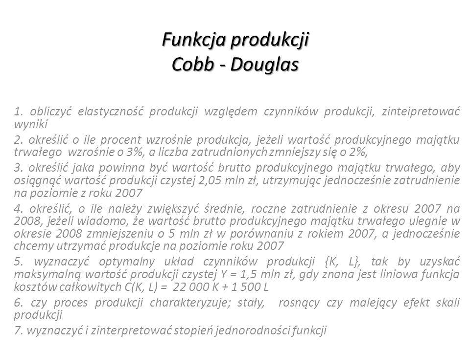 Funkcja produkcji Cobb - Douglas Oszacowana postać modelu: Elastyczność produkcji względem majątku produkcyjnego oznacza, że zwiększenie majątku produkcyjnego o 1% powoduje wzrost produkcji czystej o 0,4521%.