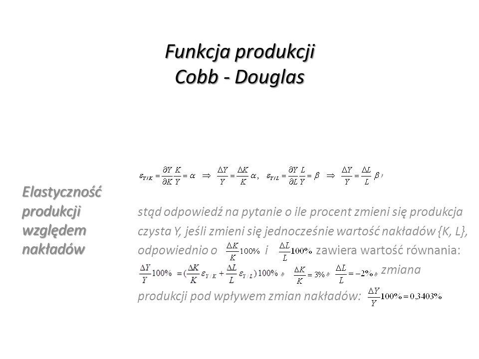 Funkcja produkcji Cobb - Douglas Elastyczność produkcji względem nakładów, stąd odpowiedź na pytanie o ile procent zmieni się produkcja czysta Y, jeśl