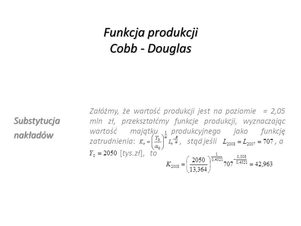 Funkcja produkcji Cobb - Douglas Stopasubstytucji Krańcowa stopa substytucji majątku produkcyjnego poprzez pracę: określa jaka ilością pracy L należy zastąpić wycofaną ilość kapitału K, bowiem równanie wyznacza konieczne zwiększenie nakładów pracy, kompensujące spadek nakładów majątku produkcyjnego, pozwalające utrzymać produkcję na poziomie, z definicji: stąd podstawiając w miejsce K równanie izokwanty: = 0,0663, otrzymamy otrzymamy:, a zatem by zrekompensować spadek wartości produkcyjnego majątku trwałego o 5 mln zł, przy jednoczesnym utrzymaniu produkcji czystej na poziomie 2022,5 tys zł., należy zwiększyć średnie roczne zatrudnienie o 76 pracowników
