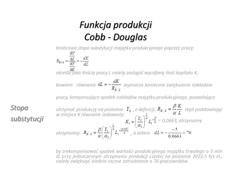 Funkcja produkcji Cobb - Douglas Stopasubstytucji Krańcowa stopa substytucji majątku produkcyjnego poprzez pracę: określa jaka ilością pracy L należy