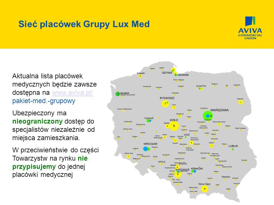 Sieć placówek Grupy Lux Med 2 Szczecin Aktualna lista placówek medycznych będzie zawsze dostępna na www.aviva.pl/ pakiet-med.-grupowywww.aviva.pl/ Ubezpieczony ma nieograniczony dostęp do specjalistów niezależnie od miejsca zamieszkania.