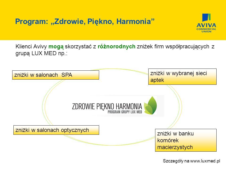 Klienci Avivy mogą skorzystać z różnorodnych zniżek firm współpracujących z grupą LUX MED np.: zniżki w salonach SPA zniżki w wybranej sieci aptek zni