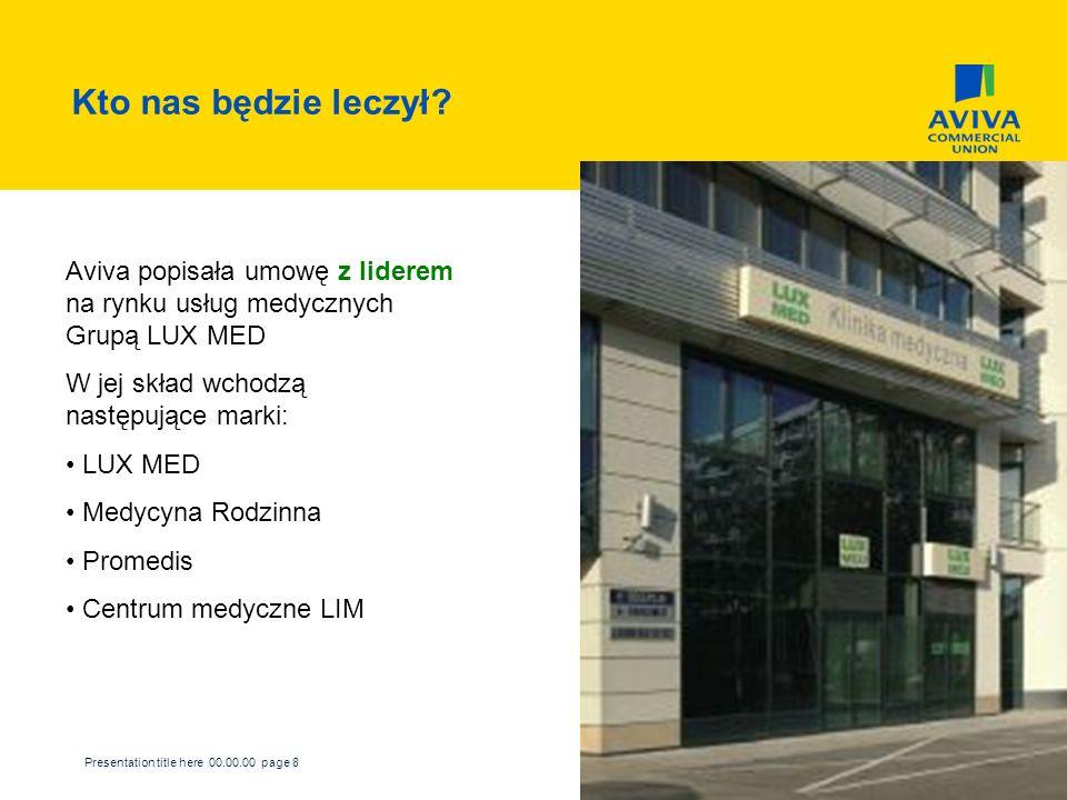 Presentation title here 00.00.00 page 8 Kto nas będzie leczył? Aviva popisała umowę z liderem na rynku usług medycznych Grupą LUX MED W jej skład wcho