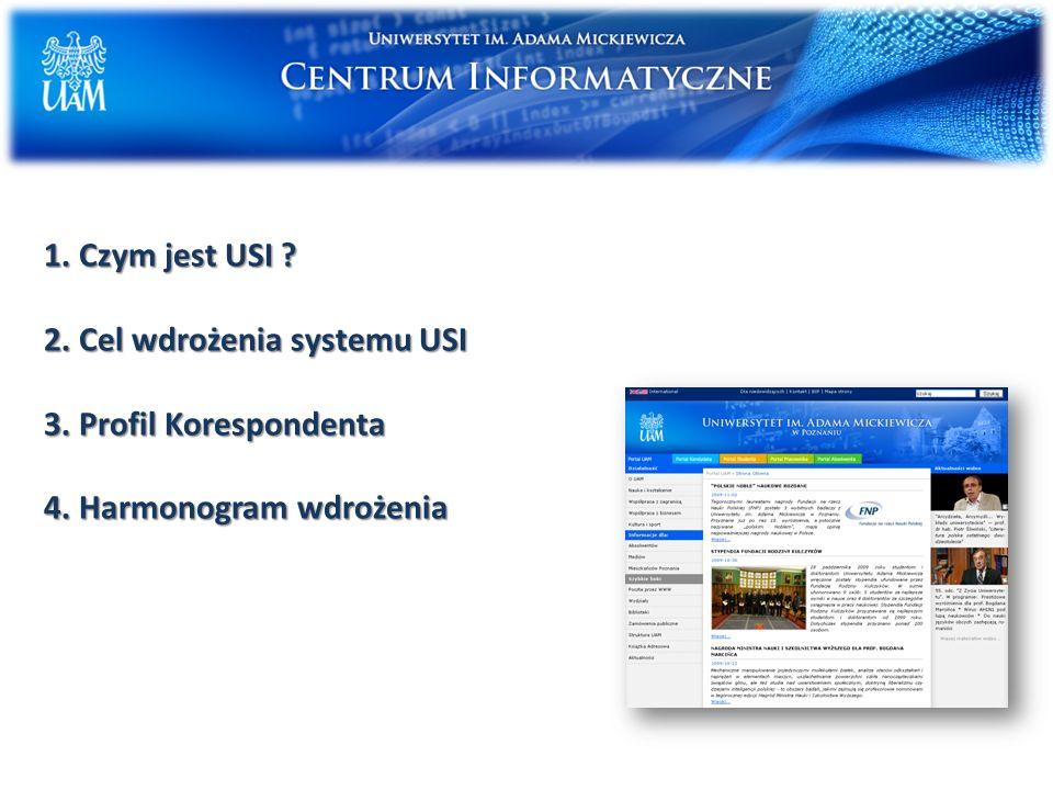 1. Czym jest USI ? 2. Cel wdrożenia systemu USI 3. Profil Korespondenta 4. Harmonogram wdrożenia