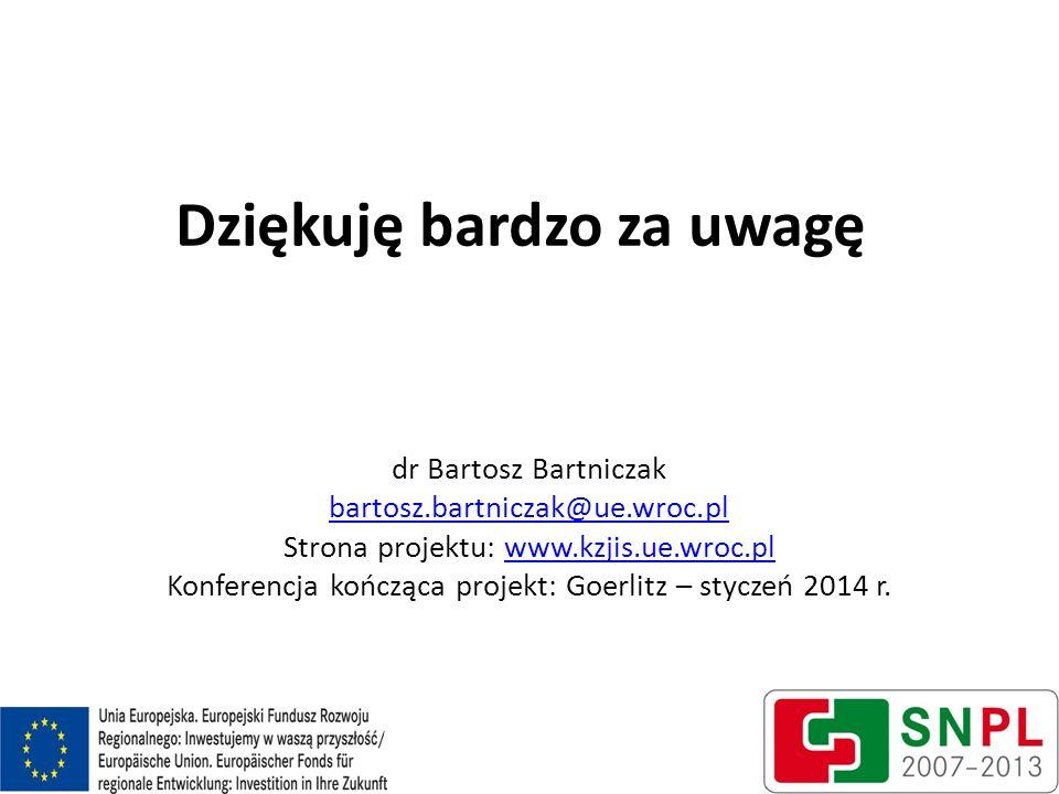 Dziękuję bardzo za uwagę dr Bartosz Bartniczak bartosz.bartniczak@ue.wroc.pl Strona projektu: www.kzjis.ue.wroc.plwww.kzjis.ue.wroc.pl Konferencja koń